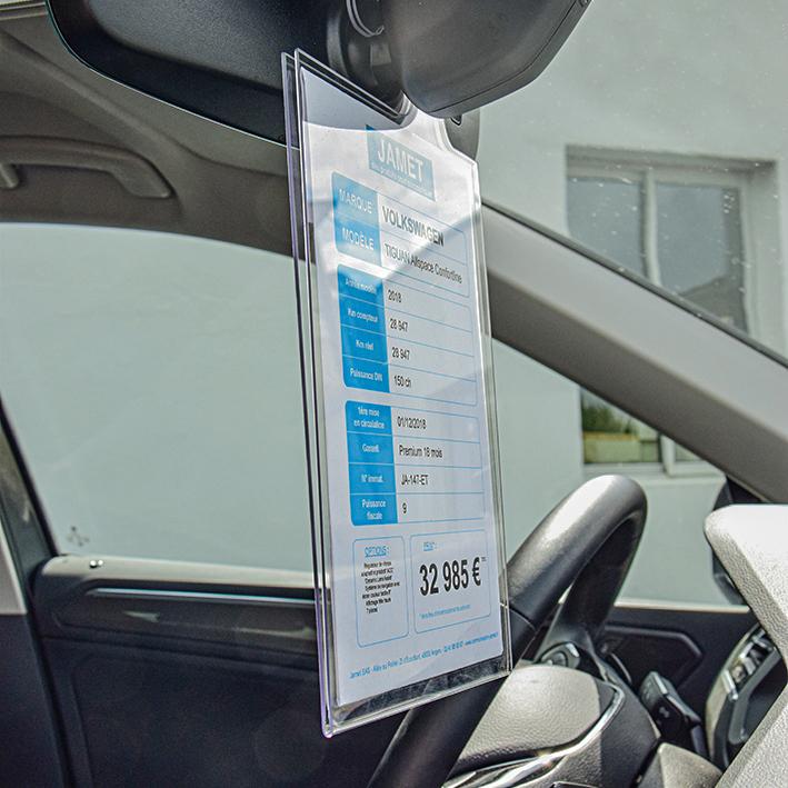 PLV automobile - affiche prix rétroviseur